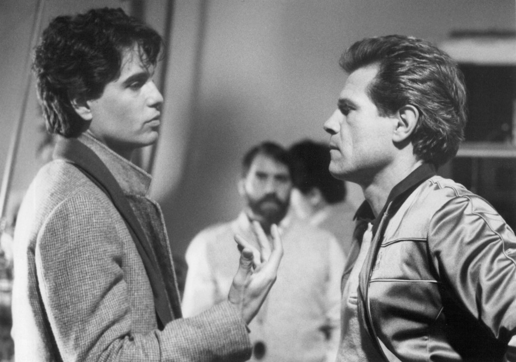 Chris Sarandon and Tom Holland on the set of Fright Night