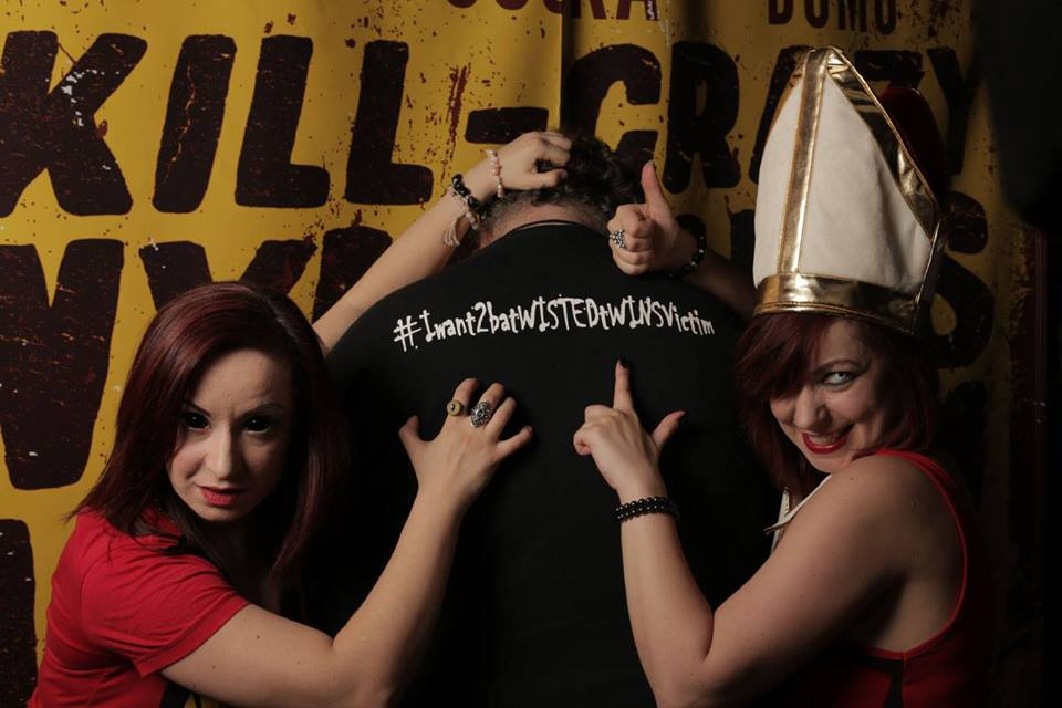 Author of this article, Ewan Johnstone, with Twisted Twins
