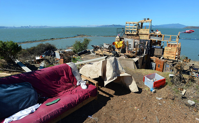 One of the ramshackle encampment sites at the Albany Bulb, as seen on Tuesday, Sept. 3, 2013.