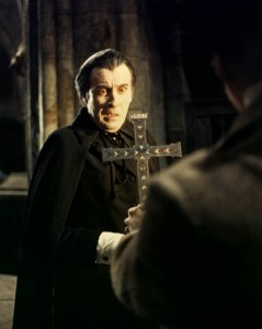 Recoiling from the cross in Taste the Blood of Dracula (1970)