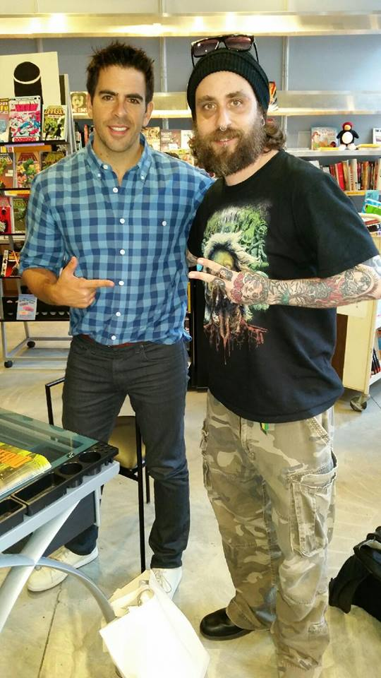 Eli Roth and The Blood-Shed co-owner Josh Millican--yucking it up!