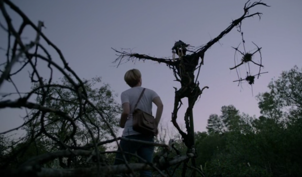 Screenshot from MR. JONES (2013) featuring Pumpkinrot scarecrow