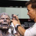 Akihito Ikeda does SFX makeup demo at PPI booth Monsterpalooza 2016